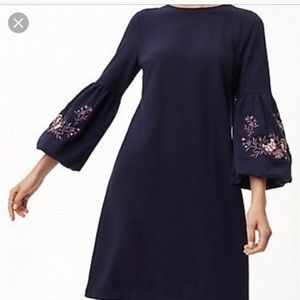 new with tags loft navy dress with bell sleeves
